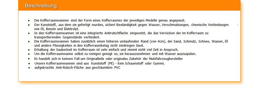 Kofferraumwanne Anti-Rutsch für Citroen C8 Bj ab 8//2002 bis 2014